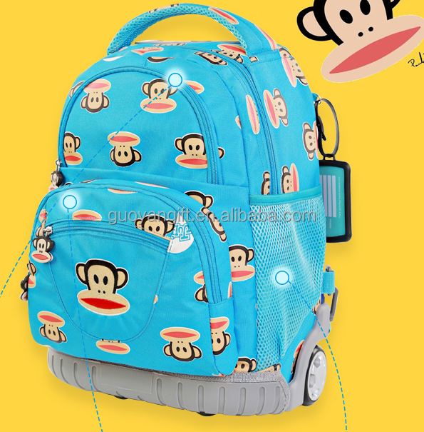 2016 Wholesale Monkey Waterproof Cartoon Trolley School bags for students