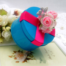Decorative Round Candy Packaging Tin Box With Flower