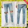 Light wash blue ripped stretch skinny jeans men cotton spandex jeans