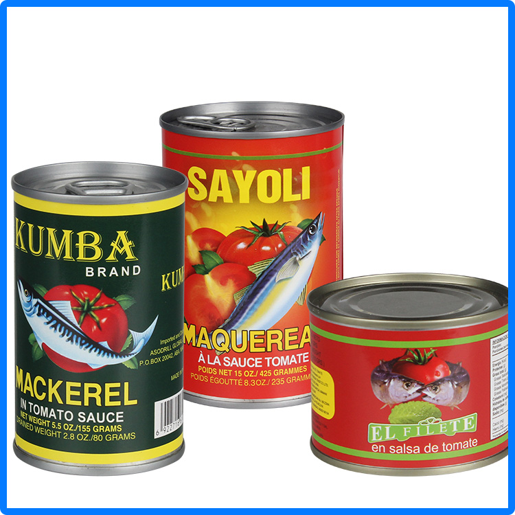 425g pack weight canned food canned mackerel 2016 hote sale canned fish
