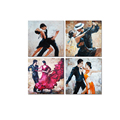 Wholesale Canvas Artwork Latin Dancer Drawing Picture Canvas Prints Abstract Dancing Painting Canvas Print Home Decor 4-Panel