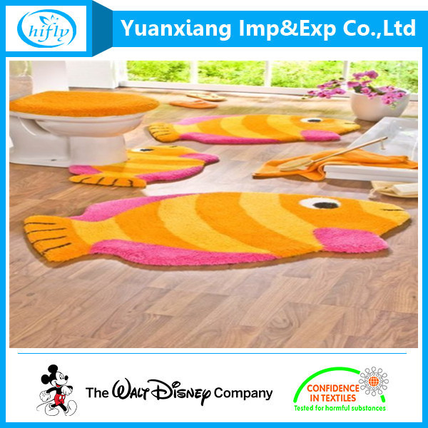 Animal shaped polyester bath rug set|high quality moroccan rug for toilet