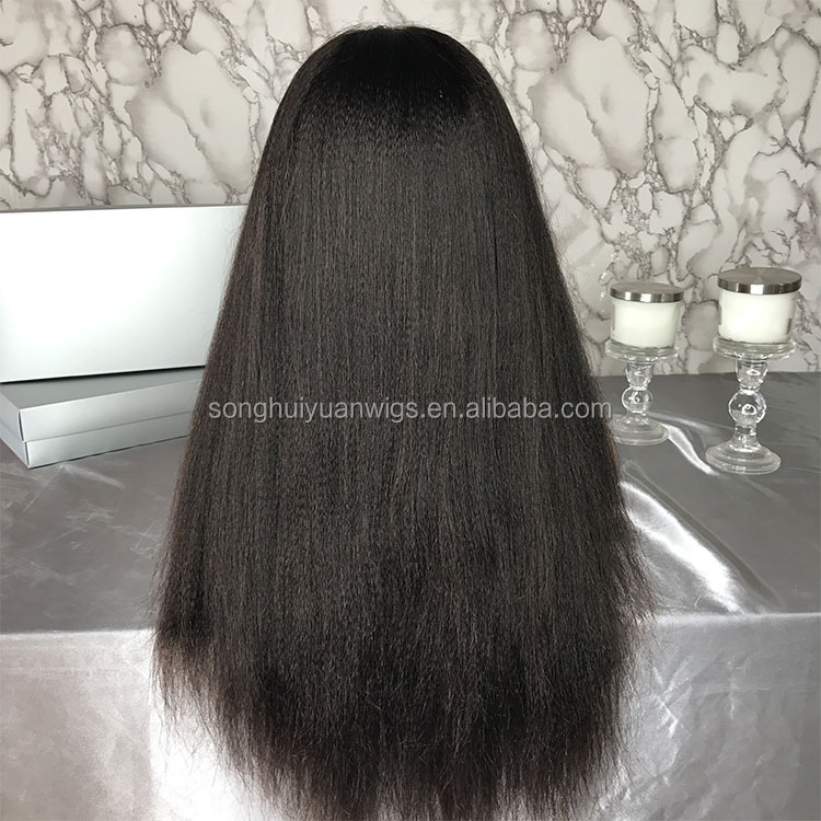 7A Glueless Remy Kinky Straight Brazilian 100% Human Hair Silk Base Full Lace Wig Natural Hairline Bleach Knots