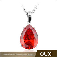 OUXI fashion beautiful crystal red pendant necklace for women 11403