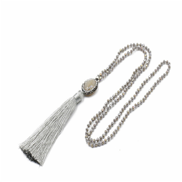 8% off new arrival agate bead charm plated pave crystal bead long fashion necklace 2017