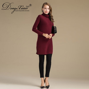 2017 New Fashion Design Knit Pullover Winter Warm Cashmere Oversize Dress for Women