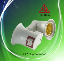 two pin E27 plug convertor E27 lamp holder with switch