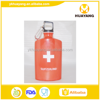 red color 500ml flat type aluminium water bottle for drinking (HY-D025)