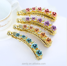 Gold Tone Alloy Banana Hair Clips Hair Claw Comb Ponytail hair clip with flowers and diamonds