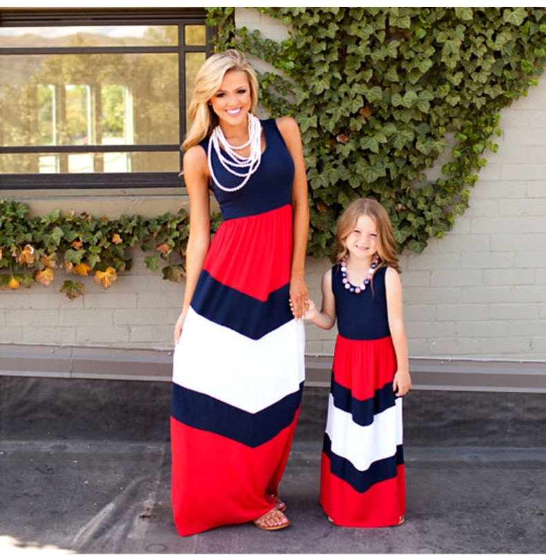 2016 Summer Style Family Matching Outfits mother daughter dresses Contrast Color blue A-Line Dress Ankle-Length mother & <strong>kids</strong>