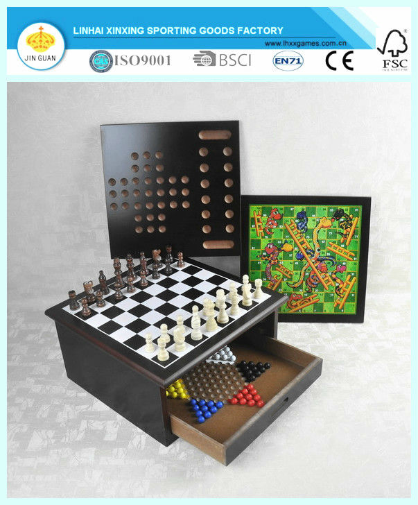10 IN 1 game set wooden chess box