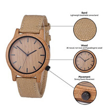 high quality charming wood face nylon craft brand watches with custom logo