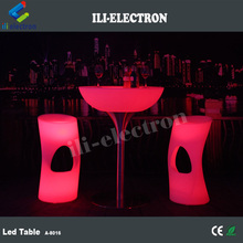 Stylish rechargeable round PE plastic LED bar table/ LED coffee table/ night culb table
