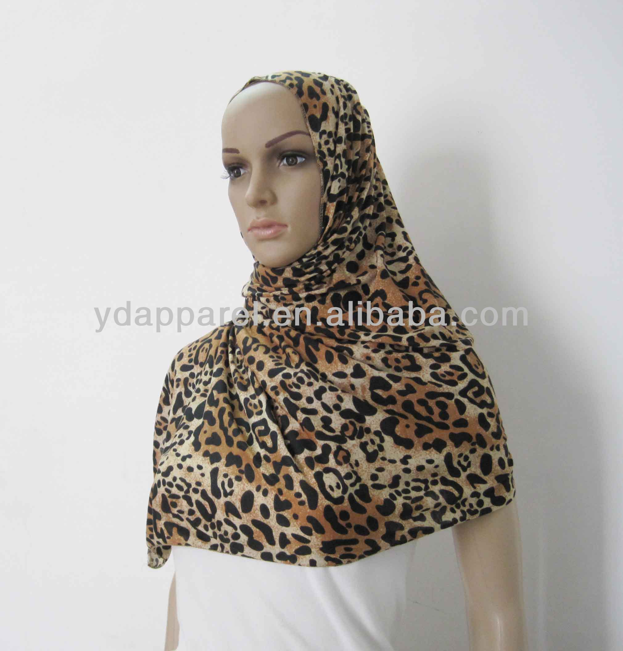 Leopard Pattern Cotton Jersey Scarf Shawl Wrap (SCF140320_6797)