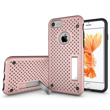 Stylish Mobile Cover Mesh Polka Dot Kickstand tpu pc Phone Cases for iphone 7 7plus