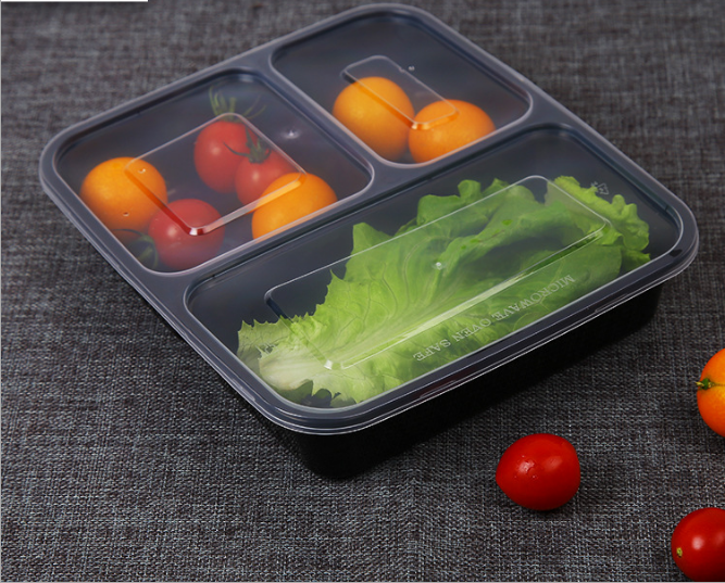 PP plastic meal prep lunch box 3 compartment disposable takeaway food container