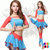 Sexy Girls Short Sleeve Crop Top & Flared Skirt & Knee Sock For Belly Dance Leotards Clothing Set