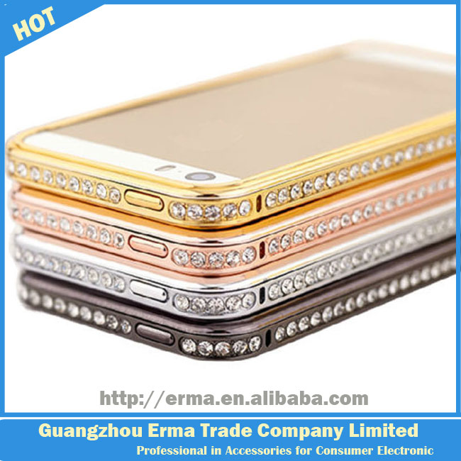 2014 New Wholesale Luxury Crystal Rhinestone Diamond Bling Crossline Metal Bumper Case for iPhone 5 5S 5G
