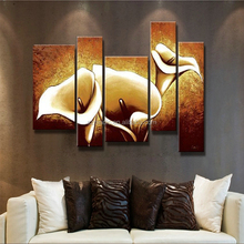 Modern Decorative Painting on Canvas Home Wall Hangings Golden Calla Lily Flowers Handmade Flower Painting 5 Panel Wall Art