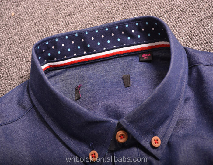 Custom latest design wholesale shirt collar blue denim men shirts stripes oxford shirt