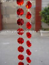 14mm red color Crystal Wedding Garland strand with gold rings, red crystal trimming