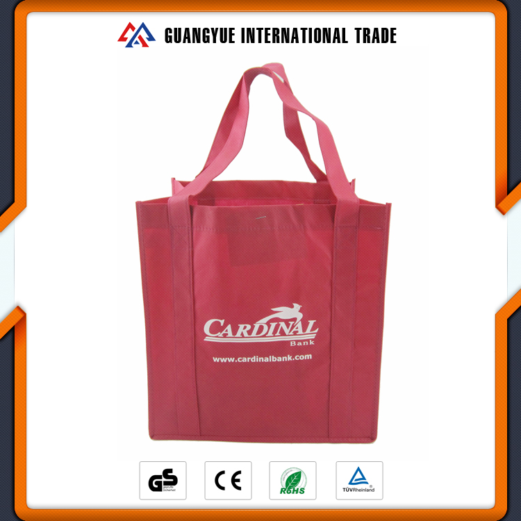 Guangyue Cheap Recycled Red Colour Non Woven Grocery Tote Shopping Bag