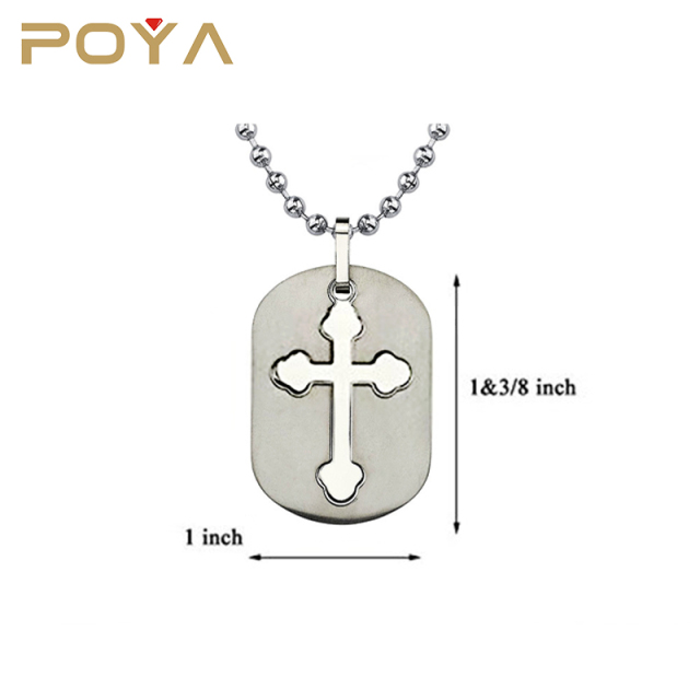 POYA Jewelry High Quality Best Price Titanium Metal Dog Tag Pendant With Cut-out Medieval Cross Stainless Steel Chain Necklace