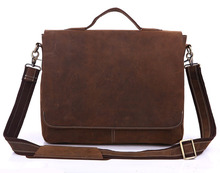 Genuine Leather Good Qulitay Cheap Price Leather Laptop Bag # 7108R-1