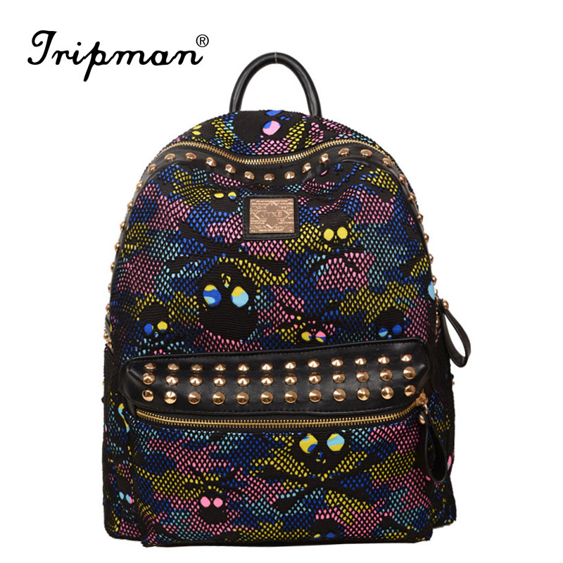 Hot New Arrival Coloful Camouflage Pattern Women <strong>Backpacks</strong> Fashion Skull Bags Canvas and Leather <strong>Backpacks</strong> for Teenage Girls