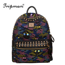 Hot New Arrival Coloful Camouflage Pattern Women Backpacks Fashion Skull Bags Canvas and Leather Backpacks for Teenage Girls