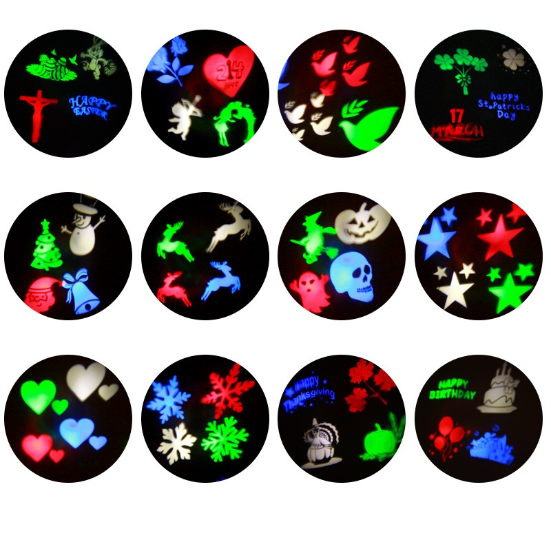 12 Pattern LED Projection Light Holiday Light Snowflake Laser Light Projector