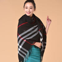 Square Grid Cashmere Shawl Spain Desigual Winter Scarf Plaid Ponchos And Capes Tartan Scarf Tippet Women