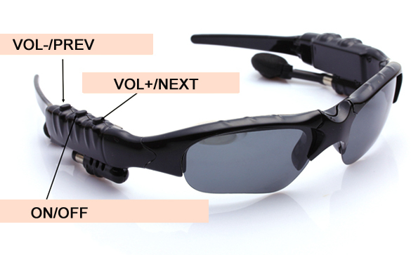 Black 2GB Sunglass Sun Glass Sports Headset MP3 WMA Player