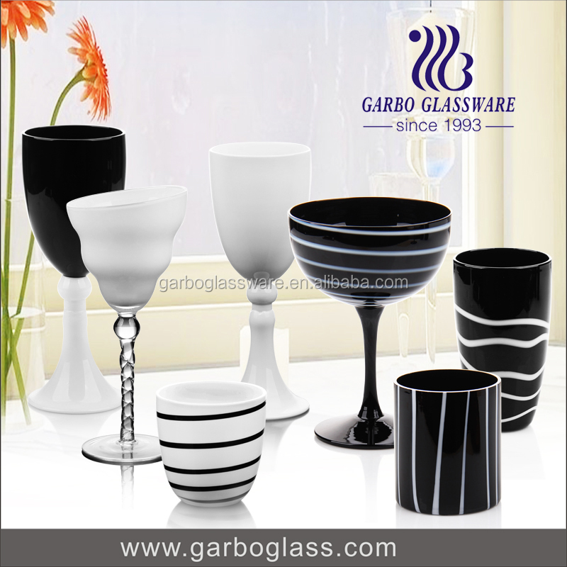 Hand made cheap promotional glass cups oem wine glass goblet italian glassware set