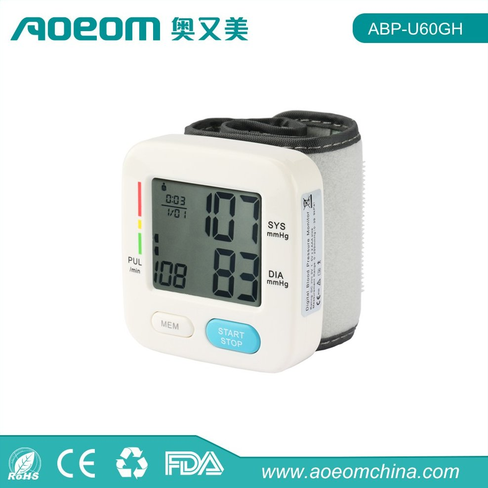 Portable Home Digital Wrist High Blood Pressure Monitor with Red Backlit for Elderly Care