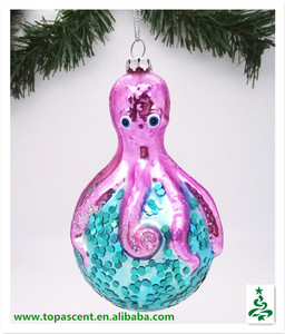 Traditional sealife hand blown painted glass octopus ornaments christmas tree decoration made in China