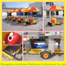 Good apperance hand push hot dog cart for sale with sunshade