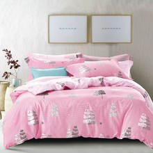 Nantong fancy pink korean cotton printed fitted bed sheet