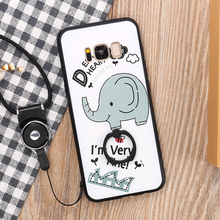 New Hot Sale Cute Cartoon Elephant Relief Mobile Phone Housing Silicone Cover Case With Lanyard+Rings Holder For Samsung S8