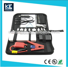 universal 12-24V car emergency tool kits with air compressor with power bank DC power cable with alligator clips power cable