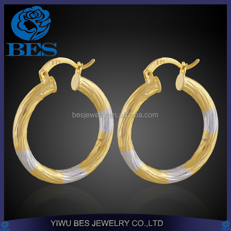 Hollow Out Two-tone Brass Jewelry Large Colored Hoop Earrings Wholesale