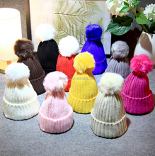Autumn and winter warmth children candy color knitted hat crochet ball winter hat