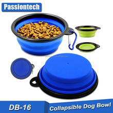 TOP 2017 High Quality Travel Dog Bowl Silicone Dog Bowl Foldable Pet Cat Dog Portable Pet Bowls Feeders with Carabiner Clips