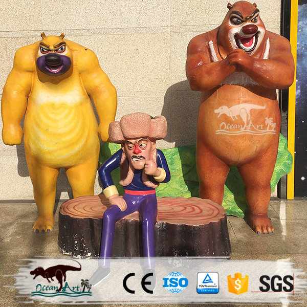 OA7040 China Manufacture Fiberglass Animal Statues Bear Sculpture