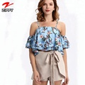 Spaghetti Straps Floral Printed Women Fashion Tops
