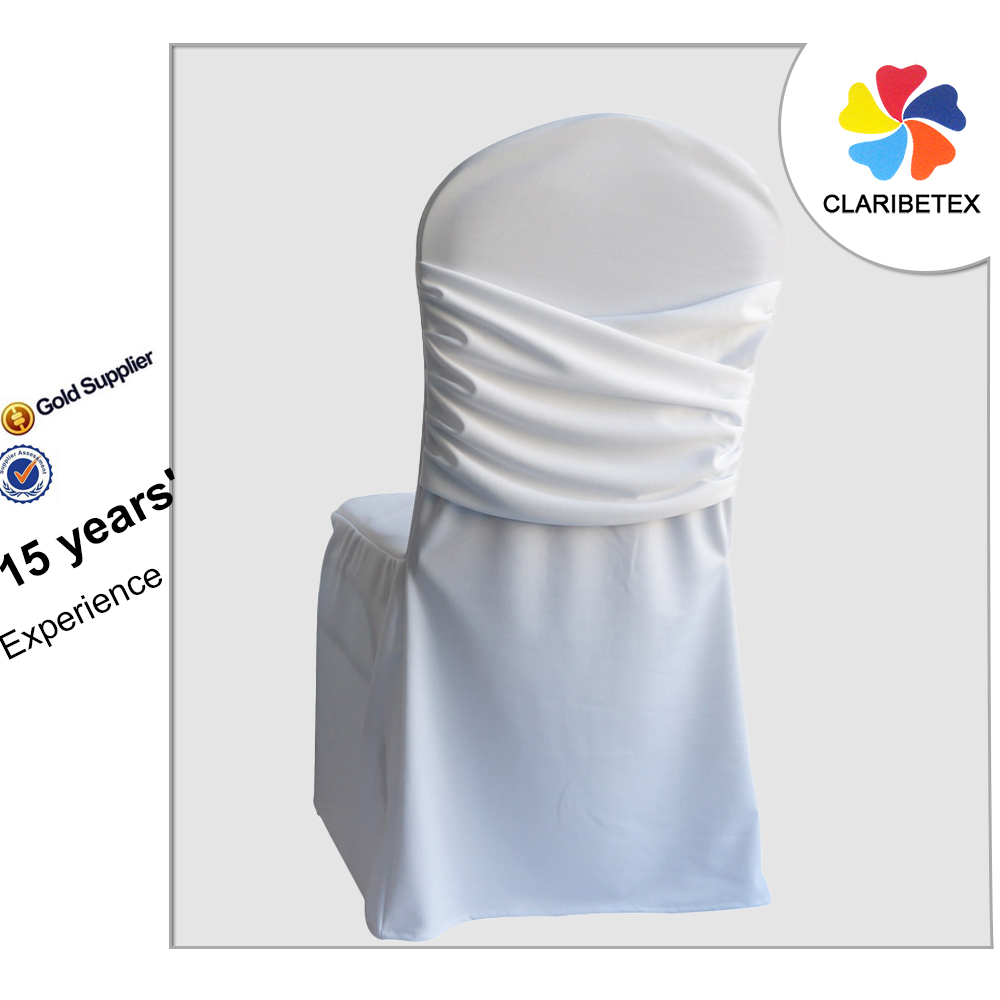 Alibaba China Wholesale White Back Ruched Spandex Fabric Wedding Chair Cover