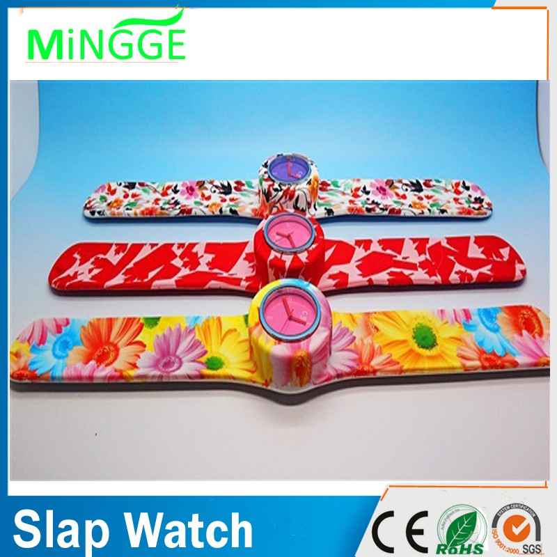 Nice colour printed silicone slap watch for girls and boys