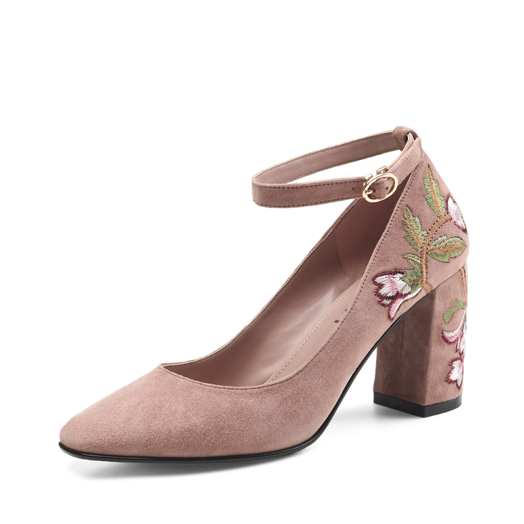 latest women chic velvet suede leather heels shoes embroidery lady shoes
