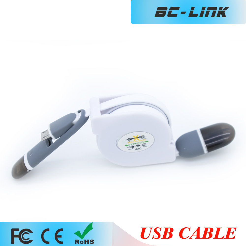 USB Micro and 6S lighting 2 in 1 logo custom retractable usb cable