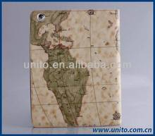 map pattern PU leather stand smart cover case , leather case for ipad 3